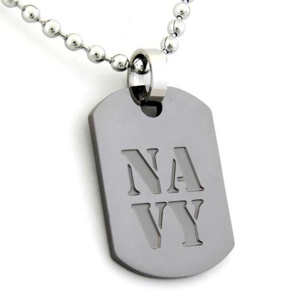 US Navy Dog Tag Gunmetal Necklace