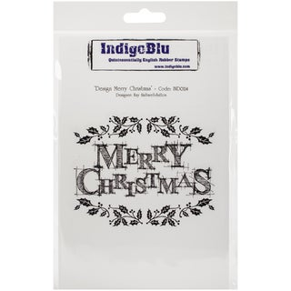 "IndigoBlu Cling Mounted Stamp 5""X8""-Design Merry Christmas"
