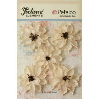 "Textured Elements Burlap Wild Sunflowers 2.5"" 5/Pkg-Ivory"