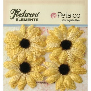 "Textured Elements Burlap Sunflowers 2"" 4/Pkg-Yellow"