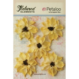 "Textured Elements Burlap Wild Sunflowers 2.5"" 5/Pkg-Yellow"