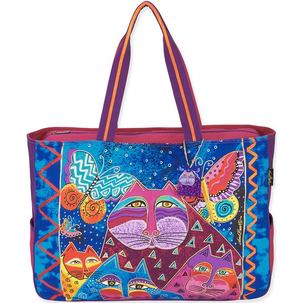 "Oversized Tote 20.5""X5.5""X15""-Cats W/Butterflies"