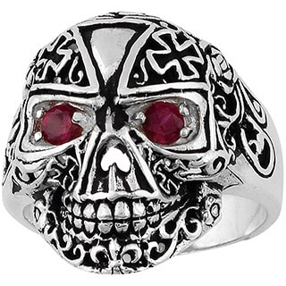 Sterling Silver Victorian Skull Iron Cross Ring