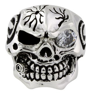Sterling Silver Bullet-to-the-Head Skull Ring