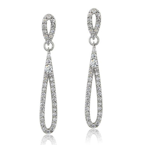 ICZ Stonez Silver Cubic Zirconia Teardrop Dangle Earrings