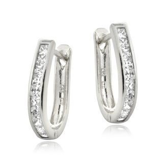 ICZ Stonez Silver Cubic Zirconia Hoop Earrings (2 options available)