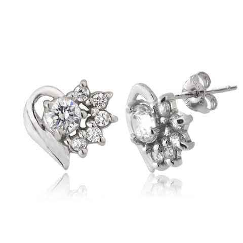 ICZ Stonez Silver Cubic Zirconia Heart Stud Earrings