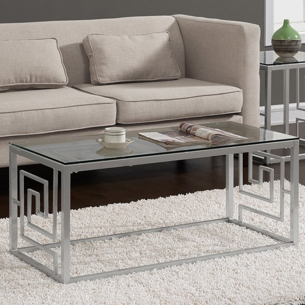 greek key silver coffee table with glass top free shipping today 16839294. Black Bedroom Furniture Sets. Home Design Ideas