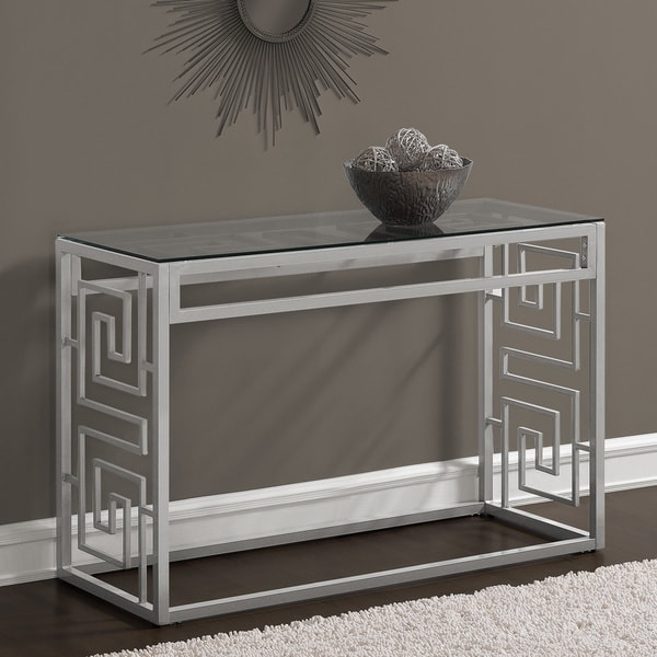 Greek Key Silver Sofa Table With Glass Top Free Shipping