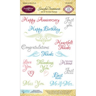 "JustRite Papercraft Clear Stamp Set 4""X6""-Graceful Sentiments"