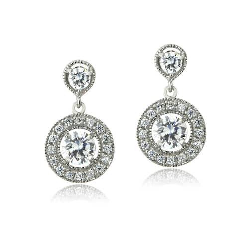 ICZ Stonez Silver Cubic Zirconia Dangle Earrings