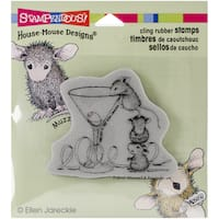"""Stampendous House Mouse Cling Rubber Stamp 3.5""""X4"""" Sheet-Martini Mice"""