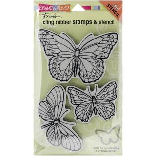 "Stampendous Cling Rubber Stamp 5""X7.5"" -Penpattern Butterflies"