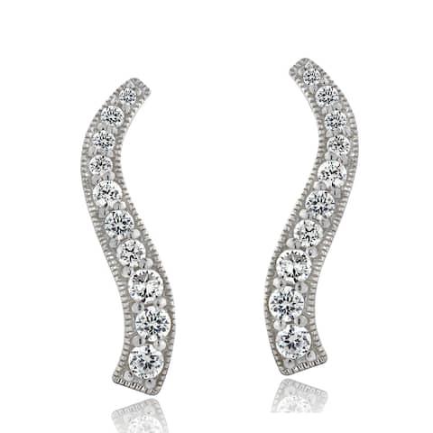 ICZ Stonez Silver Cubic Zirconia Journey Drop Earrings