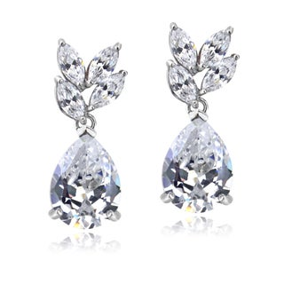 ICZ Stonez Silver Cubic Zirconia Teardrop Dangle Earrings (2 options available)