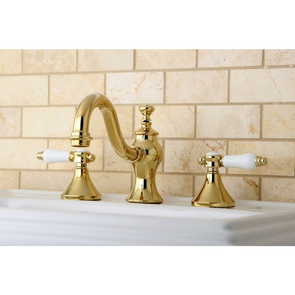 Victorian Polished Brass Widespread Bathroom Faucet: Victorian Polished Brass Widespread Bathroom Faucet
