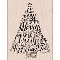 "Hero Arts Mounted Rubber Stamps 3.25""X4.25""-Merry Christmas Tree"