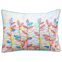 Clustered Leaf Embroidered Hand Crafted Throw Pillow