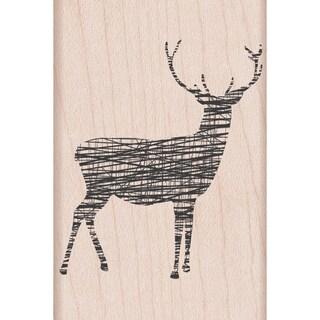 """Hero Arts Mounted Rubber Stamps 2""""x3"""" -Cross-Hatch Reindeer"""
