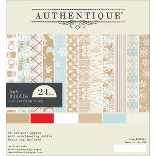 """Authentique Bundle Cardstock Pad 6""""X6"""" 24/Pkg-Cozy"""