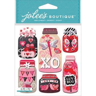 Jolee's Boutique Dimensional Stickers-Lovebug Mason Jars
