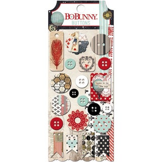 Star-Crossed Buttons 21/Pkg-Plastic & Chipboard