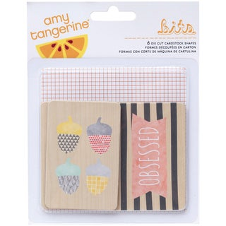 Amy Tan Stitched Die-Cut Printed Chipboard 6/Pkg
