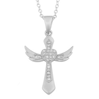 Fremada Rhodium-plated Sterling Silver Cubic Zirconia Winged Cross Heart Necklace