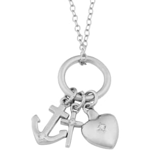 Fremada Rhodiu-plated Sterling Silver Cubic Zirconia Faith, Hope, and Love Necklace