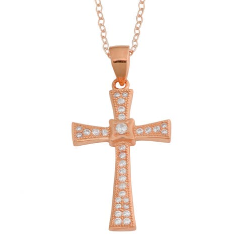 Fremada Gold Over Sterling Silver Cubic Zirconia Cross Pendant Necklace