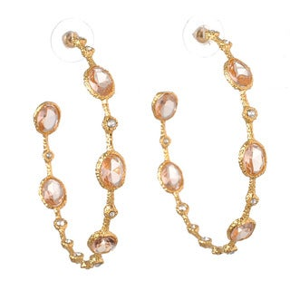 De Buman 18k Yellow Gold Plated or Rose Gold Plated Crystal Hoop Earrings
