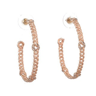 De Buman 18k Rose Gold Plated Crystal Hoop Earrings