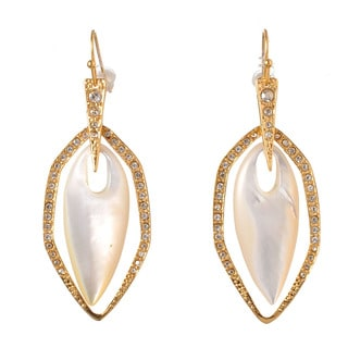 De Buman 18k Yellow Gold Plated or Rose Gold Plated Mother of Pearl and Crystal Earrings