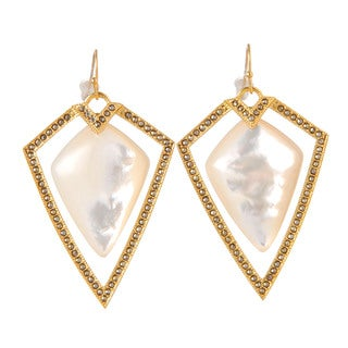 De Buman 18k Yellow Gold Plated Mother of Pearl and Marcasite Earrings