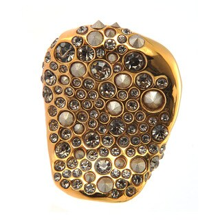 De Buman 18k Yellow Gold Plated Transparent Black Czech and Crystal Irregular Ring