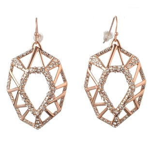 De Buman 18k Rose Gold Plated Crystal Dangle Earrings