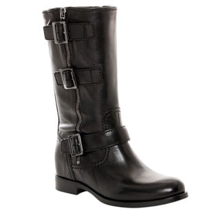 Prada Women's Black Leather Buckle Detail Mid-calf Boots