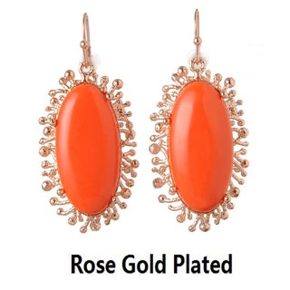 De Buman 18k Gold Plated Metal Created Red Coral Gemstone Earrings
