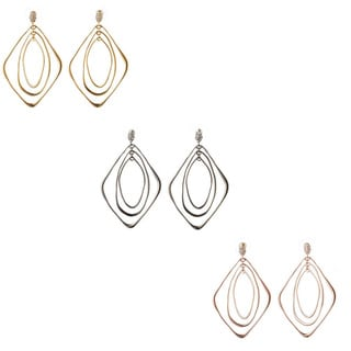 De Buman 18k Yellow Gold Plated, White Rhodium Plated or 18k Rose Gold Plated White Czech Earrings