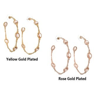 De Buman 18k Yellow Gold Plated or Rose Gold Plated Pink Crystal Hoop Earrings