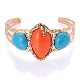De Buman 18k Rose Gold Plated Metal Created Turquoise and Red Coral Bangle