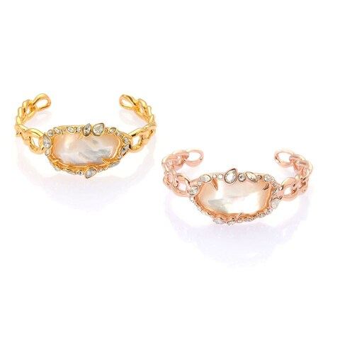 De Buman Yellow Gold Plated or Rose Gold Plated Mother of Pearl Bangle