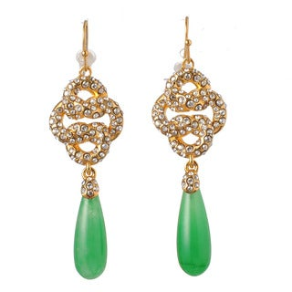 De Buman 18k Yellow Gold Plated Created Quartzite and Crystal Earrings