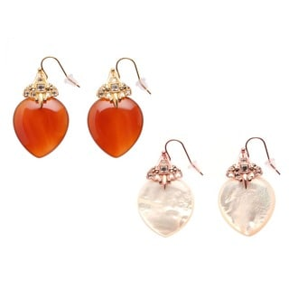 De Buman 18k Yellow Gold Plated Red Agate or 18k Rose Gold Plated Mother of Pearl Earrings
