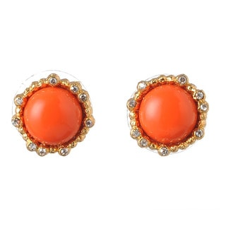 De Buman 18k Yellow Gold Plated Red Coral Earrings