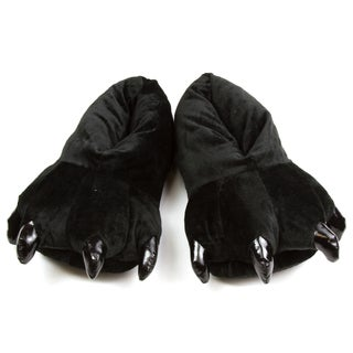 Leisureland Unisex Black Bear Paw Slippers