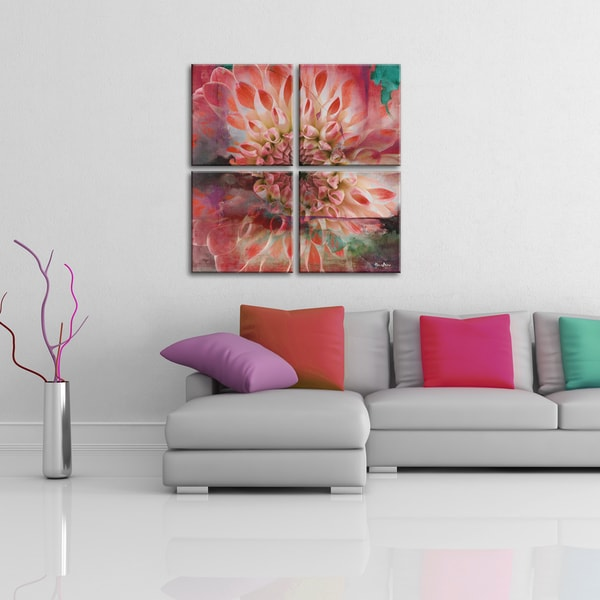 ready2hangart 39 painted petals xxix 39 4 piece canvas wall. Black Bedroom Furniture Sets. Home Design Ideas