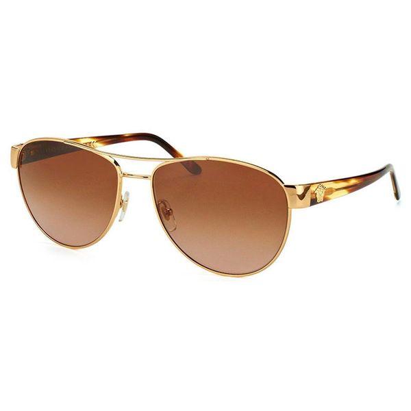 95835a11191c Shop Versace Women's 'VE2145 1002/13' Goldtone Aviator Sunglasses ...