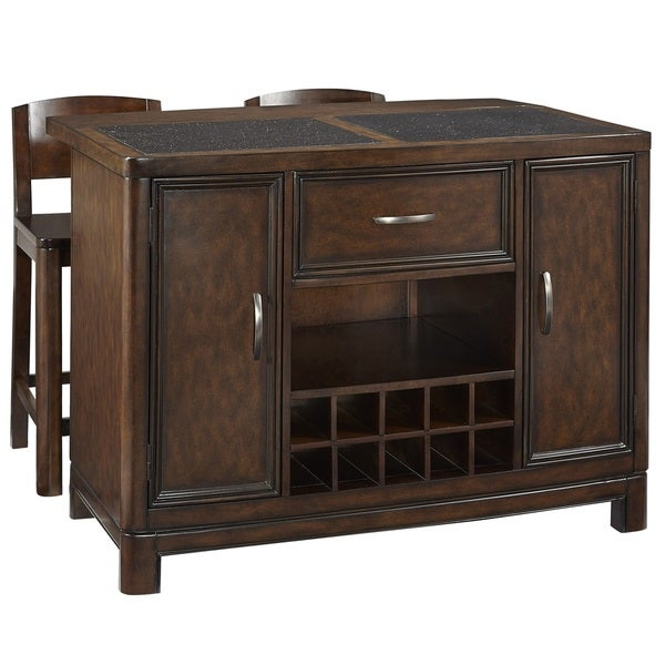 Crescent Hill Kitchen Island W Granite Top And Two Stools By Home Styles Free Shipping Today