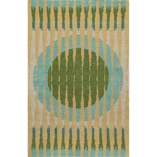 "Cosmopolitan Luna Green Hand-tufted Wool Rug (2'3"" x 8')"